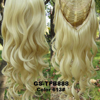 "HOT 3/4 Half Long Curly Wavy Wig Heat Resistant Synthetic Wig Hair 200g 24"" Highlighted Curly Wig Hairpieces with Comb Wig Hair GS-TFB888 613#"