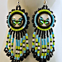 Blue Green Butterfly Handmade Beaded Earrings Springtime Jewelry