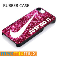 Logo Nike Just Do It Pink Sparkle iPhone 4/4S, 5/5S, 5C, 6/6 Plus Series Rubber Case