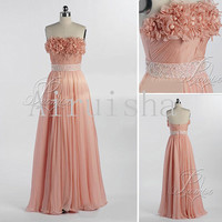 Lovely pink strapless flowers sash silk chiffon pleated formal dress