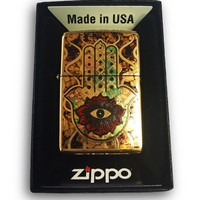 Zippo Custom Lighter - Fuzion Hamsa Hand OF FATIMA - Brush Brass 254B-ZF40015