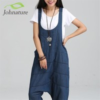 Denim Jumpsuits Pocket Rompers Stripped Loose Plus Size  Women Fashion Casual Denim Overalls Harlan Jumpsuits