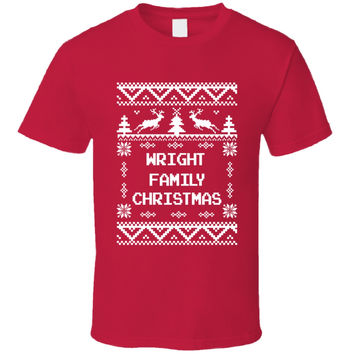 Youth Wright Family Christmas Ugly Sweater T-Shirt