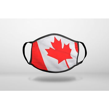 Red White Canadian Flag Canada - 3-Ply Reusable Soft Face Mask Covering, Unisex, Cotton Inner Layer