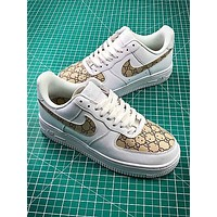 Gucci X Nike Air Force 1 Af1 Low White Brown Sport Shoes