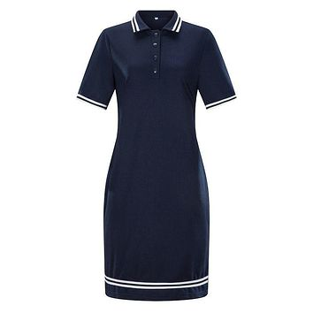 Women Classic Solid Color Straight Pattern Lapel Collar Short Sleeves Dress