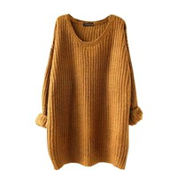 2018 New Female Sweater Women O-neck Plus Size Solid Pullover Sweater Woman Fashion Autumn Sweater clothes