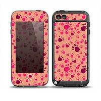 The Pink & Tan Paw Prints Skin for the iPod Touch 5th Generation frē LifeProof Case