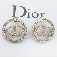 Dior Fashion new diamond letter round earring women accessory