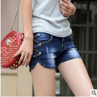 New Arrival Summer fidgeted jeans pants Korean large size women's Slim jeans mid waist dark blue Bermuda shorts
