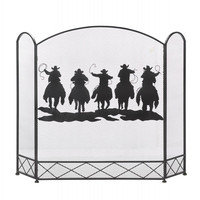Western Cowboys Fireplace Screen