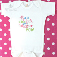 Girls Embroidered Bodysuit or Shirt - Creeper - Get a bigger bow - Baby Shower Gift - Baby Girls Clothing - Babies -