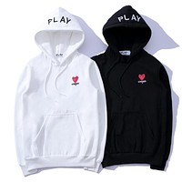 """Comme Des Garçon Play"" Trending Women Men Loose Embroidery Long Sleeve Hoodie Sweater Top I12574-1"
