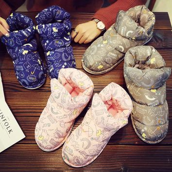 Women Boots Duck Down Winter Couple Booties Non-Slip Fluffy Waterproof Snow Boots  Indoor Outside Cute Ankle Boots Home Shoes