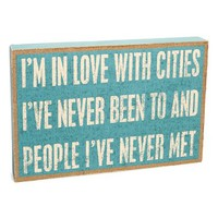 Primitives by Kathy 'Cities I've Never Been To' Burlap Box Sign