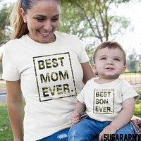 BEST MOM EVER and BEST SON EVER camouflage print
