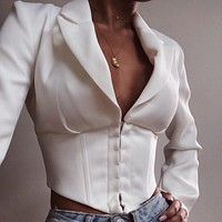 Solid color deep V long sleeves buckle cardigan suit jacket women's clothing