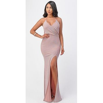 Fitted Sequins Blush Long Dress Halter Neck Front Sexy Slit