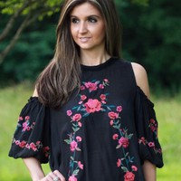 Umgee Black Embroidered Cold Shoulder Top - Boutique At Audrey's