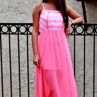 White and Pink Maxi Dress Featuring Bottom Overlay Detail