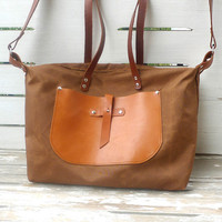 Free Express Shipping - Brown Weekender Bag  - Leather Single Strap Shoulder bag / Tote Bag / Diaper Bag / Shoulder Bag / Crossbody Bags