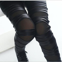 2016 brand new fashion lady leather leggings black white bandage cross women leggings patchwork mesh and fake leather legging