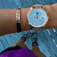 MVMT Watches Women Pearl Dial with Beige Genuine Leather Strap