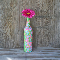 Hand Painted Wine bottle Vase, Candy Apple Green with pink, yellow, and blue accents, Vibrant Henna style design