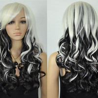 Cos black & white mix long curly cosplay full wig