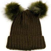Double Fur Pom Pom Knit Beanie Hat - Olive