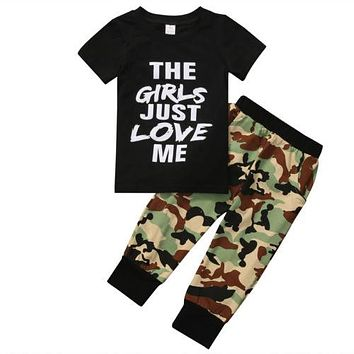 born Toddler Kids Baby Boys T-shirt+Camouflage Pants Outfits Clothes