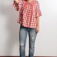 Red Plaid Peasant Top