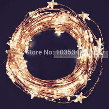 33Ft 100LED Star Copper Wire String Lights LED Fairy Christmas Lights Wedding decoration Lights 12V DC Power Adapter Included