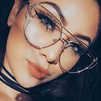 Fashion Clear Lens Plain Cat Eye Glasses for Reading Aviation Alloy Gold Frame Sunglasses