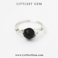 Black Onyx Ring, wire wrapped ring, wire wrapped jewelry handmade, unique rings, custom