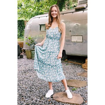 Frankee Floral Tiered Midi Dress, Dusty Blue