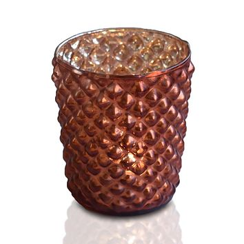 Zariah Mercury Glass Tealight Holder (Rustic Copper Red, Single) For Use with Tea Lights - For Home Decor, Parties and Wedding Decorations - Mercury Glass Votive Holders