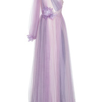 Tulle Grecian Gown With Flowers | Moda Operandi