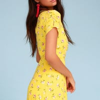 Cicely Yellow Floral Print Wrap Dress
