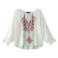 White Ethnic Embroidered Blouson Sleeve Tie Front Blouse