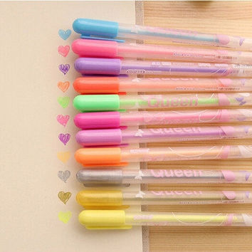 12pcs/lot DIY Cute kawaii Watercolor Chalk Gel pen Markers Highlighter for Decoration Scrapbooking Stationery 12 colors (Color: Multicolor) = 1958662852