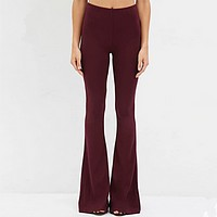 Women Simple Fashion Bodycon Solid Color Flares Trousers Leisure Pants