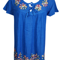 Summer Style Blue Embroidered Ethnic Blouse Short Sleeves Rayon Boho Tunic Top