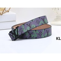 LV Fashion Hot Selling Men's and Women's Printed Graffiti Belt Green belt+Black buckle
