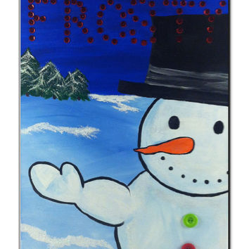 Frosty the Snowman - Acrylic Holiday Painting -  Christmas Art - Affordable Art - Samiamart