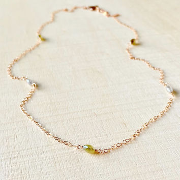 Beautifully Unique, Natural Diamond Station Necklace, 1.20CTW with 5 Genuine Diamond Beads in 14k Rose Gold Fill, Anniversary, Diamond, Gift