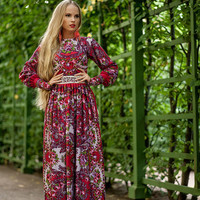 Red Floral Maxi Dress, long summer dress, Red gypsy Dress, bohemian dress, boho dress, Special occasion dress, Russian dress pavlovo posad
