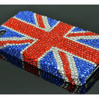 Blue Red Clean Swarovski Crystal iPhone case UK flag design iPhone 4 case ,iPhone 4s cases iPhone 5 Case iPhone cover