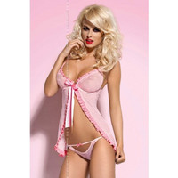 Pink Ruffled Sheer Lingerie