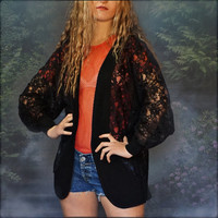 Vintage lace cocoon jacket / sheer black goth wicked wrap top with curved front / Stevie Nicks witchy piece